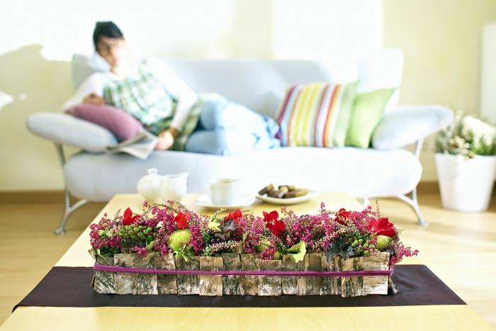 tisch dekorationen mit heide heidetrends. Black Bedroom Furniture Sets. Home Design Ideas